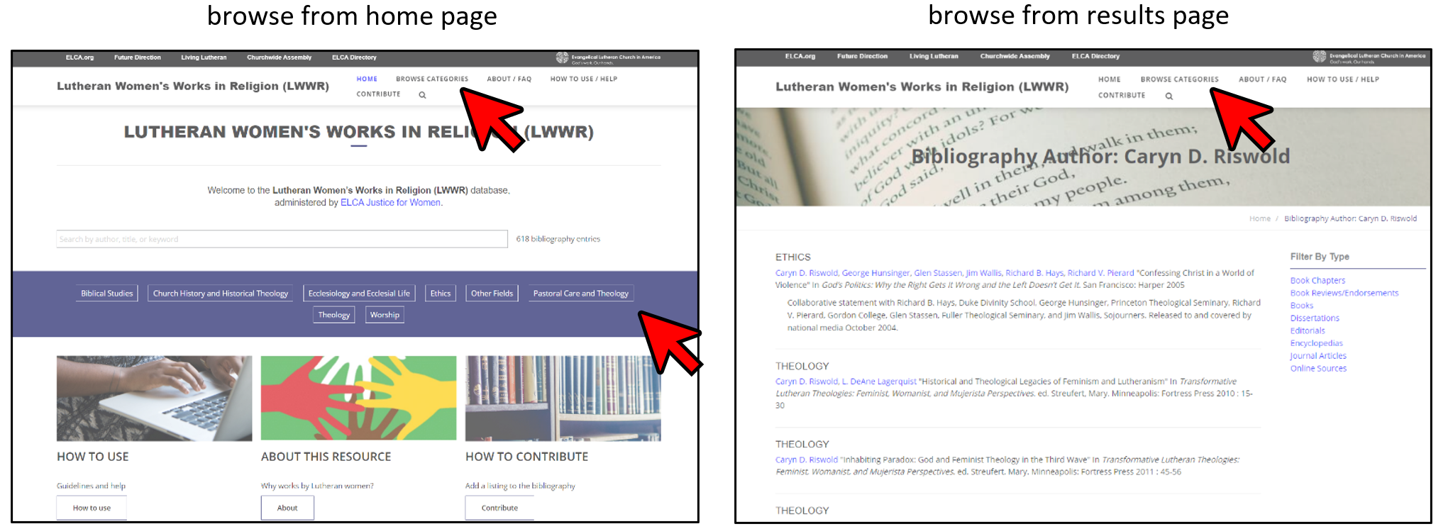 Screen shot of home page and interior page with red arrows showing how to browse.