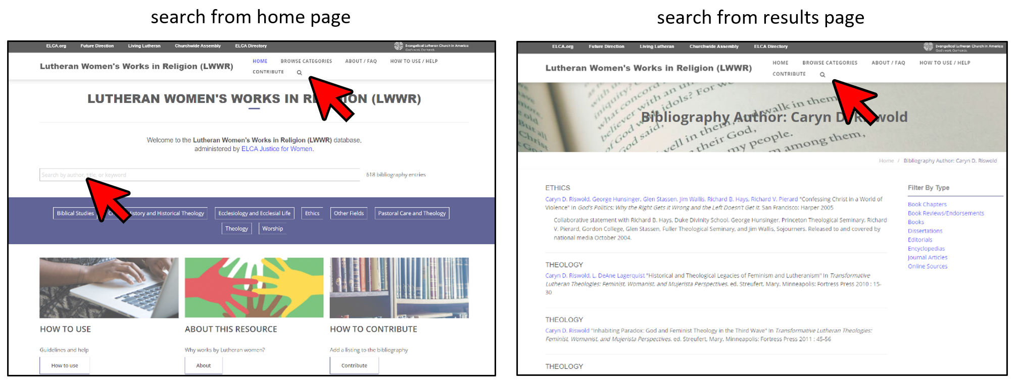 Screen shot of home page and interior page with red arrows showing how to search.